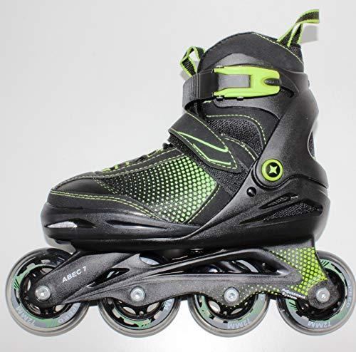 QMBasic Gelegenheit | Junior Sports Inliner | Inline Skates 5in1 Black-Style Softboot 5-Fach längen- und weitenverstellbar Größe 33-37 09448