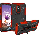 HNHYGETE Compatible for LG STYLO 5 Case,LG Stylo 5X Case, Dual Layer Heavy Duty Non Slip Shockproof Bumper Rugged Support Protective Cover for LG STYLO 5 (red)