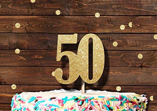 """Zahl """"50"""" als goldfarbene glitzernde Kuchendekoration oder Cupcakedekoration für eine Geburtstagsparty"""