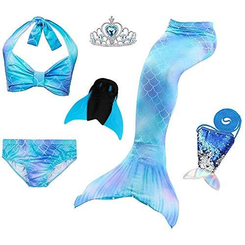 JoyChic Meerjungfrauenschwanz zum Schwimmen Meerjungfrauen Bikini Set Badeanzüge Badenbkleidung Kostüm Meerjungfrauenflosse für Mädchen Mehrfarbig,Style 3 Neu,150