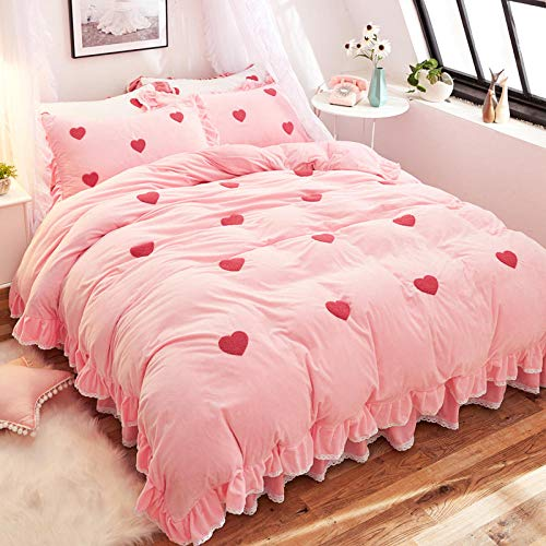 juego de funda nórdica 260x241,Falda de cama de franela de doble cara para niña de invierno, sábana de edredón alta extra grande gruesa y ropa de cama de funda de almohada-F_Cama de 2,0 m (4 piezas)