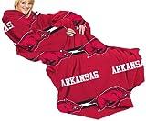 NCAA Arkansas Razorbacks Comfy Throw Blanket with Sleeves, Stripes Design