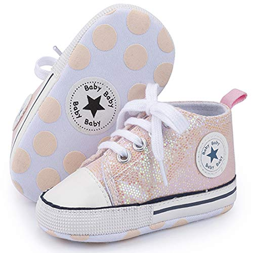myggpp Tutoo Unisex Baby Boys Girls Star High Top Sneaker Soft Anti-Slip Sole Newborn Infant First Walkers Canvas Denim Shoes B02-sequins Pink, 12-18 Months Toddler