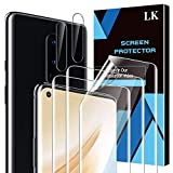5 Pack LK 3 Pack Screen Protector + 2 Pack Camera Lens Protector Compatible with OnePlus 8, Positioning Tool, HD Ultra-Thin, Flexible TPU Film