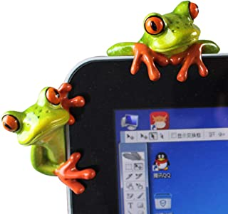 2 Pcs Funny Resin Frogs Decor, 3D Creative Craft Animal Frog Figurine Adorable Office..