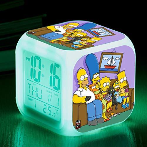 KFGJ Simpson Family 3D Digital Small Square Alarm Clock, Wake Up Led Luminoso Silencioso Luz Nocturna Color Colorido Cambio de batería USB A8