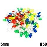 OcioDual Kit 50 Diodos LED 5mm Rojo Azul Verde Amarillo Blanco para Raspberry Electronica