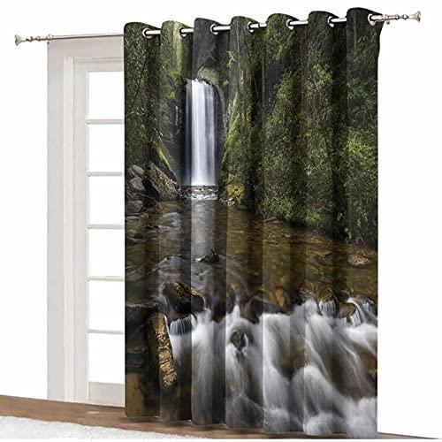ousente Cortinas opacas con aislamiento térmico para cascadas, cascadas en la montaña en las tierras del noroeste, con aislamiento térmico, 305 cm x 244 cm, para puerta corredera de cristal