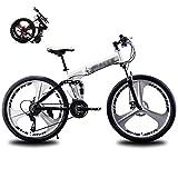 LINGYUN Mountain Bike 21 velocità a 3 Raggi 26 Pollici Ruote Doppio Disco Freno Telaio in Alluminio Bicicletta MTB Urban Track Bike,Bianca