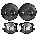 DOT Approved 7'' Black LED Headlights + 4 ''Cree LED Fog Lights Compatible with Jeep Wrangler 97-2017 JK TJ LJ