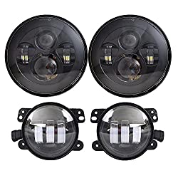 Black LED Headlights for Jeep Wrangler 97-2017 JK TJ LJ