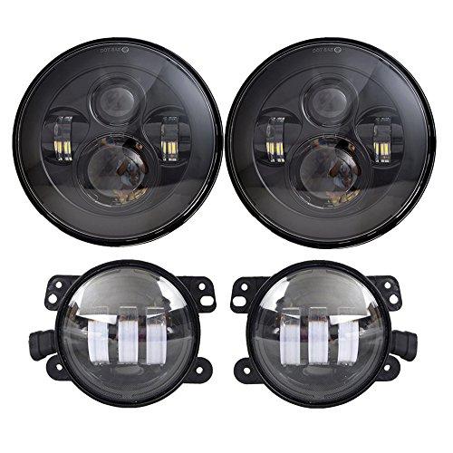 DOT Approved 7   Black LED Headlights + 4   Cree LED Fog Lights Compatible with Jeep Wrangler 97-2017 JK TJ LJ