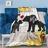 NIUJINMALI Mama Bear Sunflower Flannel Fleece Blanket Air Conditioning Quilt Super Soft Throw Home Bed Sofa Travel All Season M 60'X50'