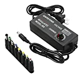 Universal Adjustable AC/DC Switching Power Adapter,AC to DC Power Supply DC Adapter 3-24v 2A Switching Adjustable Voltage Output,with Voltage Display and Multiple Tips,Black