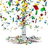 Relaxdays 10020854  Lanceur de confettis canon cotillons colorés 40 cm décoration mariage anniversaire fête portée 5 x 5 x 40 cm, colorés