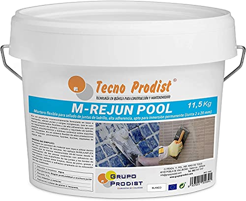 M-REJUN POOL de Tecno Prodist - (11,5 kg) Mortero flexible para sellado de juntas de baldosas y gresite en piscinas, ceramica, ladrillo, etc, apto para inmersión permanente (Junta 2 a 20 mm) Blanco