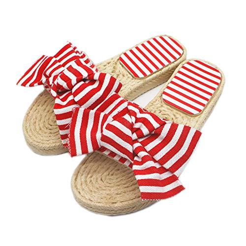 Zapatillas de Mujer Zapatillas de Zapatillas para Damas Zapatillas de Piso en Sala de otoño e Invierno,Zapatillas de verano de mujer bowknot de moda sandalias tejidas de hierba a rayas y zapatillas-re