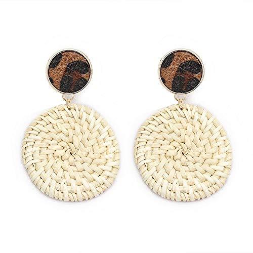 Retro Woven Circle Dangle Ear Stud Women Rattan Geometric Earrings Jewelry