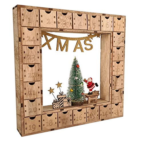 Wichtelstube-Kollektion Adventskalender Weihnachtsbaum Holz zum befüllen, wiederverwendbar, LED Beleuchtung ca. 35cm