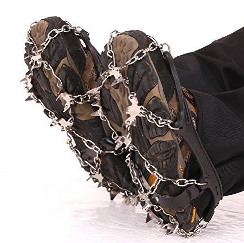 Premium Steigeisen für Bergschuhe mit 19 Edelstahl Spikes - Profi Anti-Rutsch Schuhkrallen für Schnee Eis - Winter Grödel Spikes für Schuhe - Schuh-Ketten zum Wandern - Grödeln Eisspikes (L(41-46))