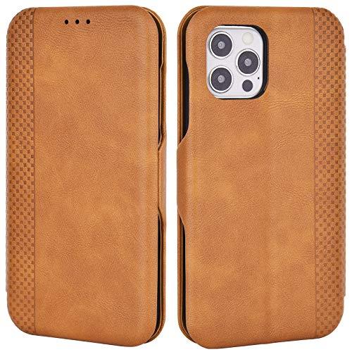 Airkuco Funda para iPhone 12 / iPhone 12 Pro, de piel, con tapa, color marrón