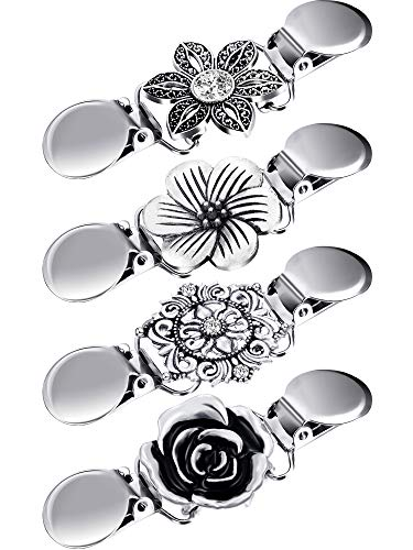 4 Pieces Vintage Sweater Shawl Clips Retro Cardigan Collar Clips Dress Shirt Brooch Clips for Women Girls Wearing, 4 Styles (Flower Style)