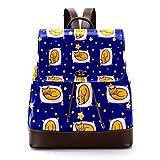 Lässiger Rucksack aus PU-Leder für Herren, Damen Schultertasche Studenten Tagesrucksack für Reisen Business College Schlafen Ingwer Katze