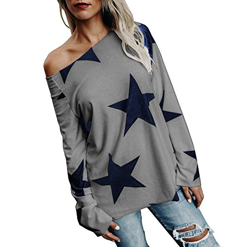 ESAILQ Frauen Mädchen Strapless Star Sweatshirt Langarm Crop Jumper Pullover Tops (XXXL, Grau)