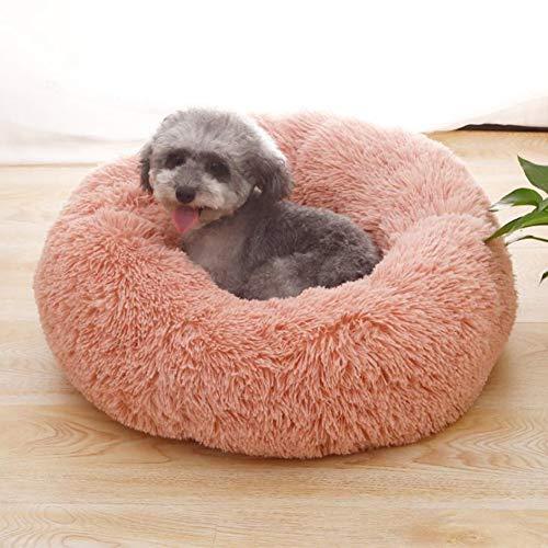 Soft Pet Bed Wasbaar Comfortabele Ronde Nest Slapende Kussens voor Katten en Honden, Knuffel Kennel Zachte Puppy Warm Kat Matten Bed Slaapzak, Diameter 80 cm / 31.5 inch, roze
