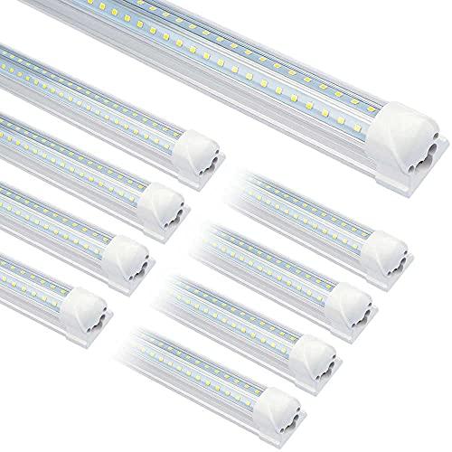 (25-Pack) T8 LED Shop Light,8FT 72W 7200LM 6000K Tube Clear Cover Bulb linkable Double Sided V Shape Integrated LED Light for Garage,Warehouse,Workshop, Basement