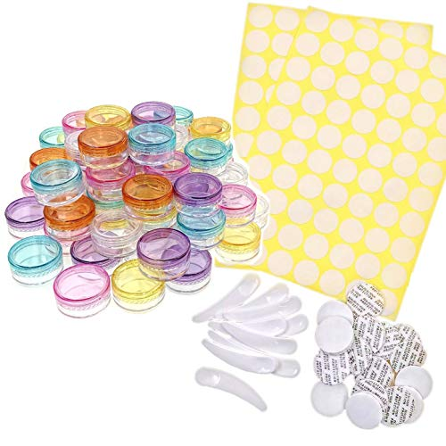 JZK 60 x 5g 5ml Rotondi trasparenti piccoli vasetti scatoline plastica contenitori vuoti da viaggio per campioni cosmetici per crema trucco, balsamo labbra, lozione, polvere glitterata
