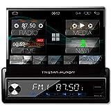 Tristan Auron BT1D7027A Android 10 Autoradio I 7'' Touchscreen ausfahrbar I GPS Navi 32GB Bluetooth Freisprecheinrichtung I USB SD OBD DAB+ 1 DIN