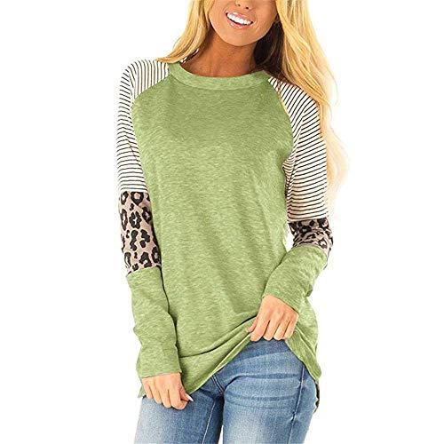 SALEBLOUSE Große Größe Baumwolle Tops Oberteile für Damen Sommer Streifen Leopard Rundhals Langarm Lose Shirts Blusen Sweatshirt T-Shirt