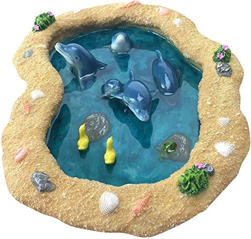 GlitZGlam Bassin miniature avec dauphins bleus pour jardin féérique miniature et accessoires de jardin enchantés