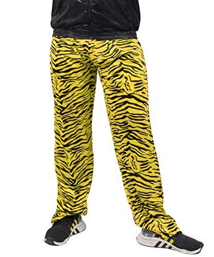Foxxeo Jogginghose 80er Jahre Kostüm Trainingsanzug Assianzug Retro schwarz gelb S - XXXL, Größe:L/XL