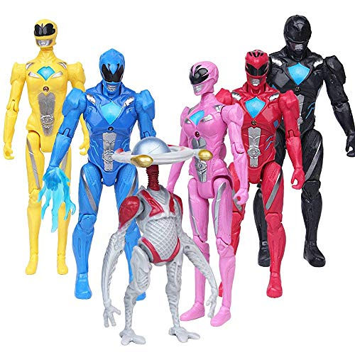 Rangers Action Figures Toy 6 Pieces - PowRang Action Figure Super Heroes Set - Toys Play Gift Game - Super Heroes Toys 5-inch Toys PVC Action Figures 6pcs/Set Child Toys Gifts Decoration