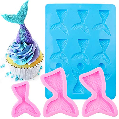 BAKHUK 15 Cavities Mermaid Tail Mold, Marine Theme Silicone Fondant Chocolate Mold for Party, Birthday Decorations