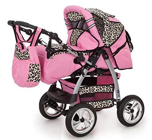 King Passeggino Trio navicella, Culla portatile, Seggiolino auto, Passeggino reversibile da 0 a 3 anni rosa & leopardo 3in1 con seggiolino auto