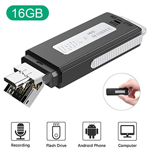 16GB USB Voice Recorder, TENSAFEE Mini Recorder Sound Audio Recorder for Lecture Meeting Pocket Voice Recorder Dictaphone Small Recording Device with 288 Hours Recording Capacity for Interview Class