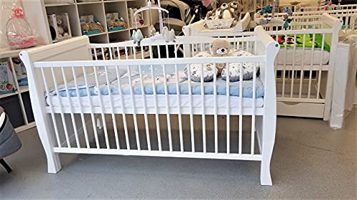 White Sleigh Style Baby Cot Bed Baby Bed Bed Cot for Newborn Cot