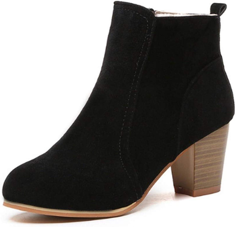 FMWLST Stiefel Stiefel Der Klassischen Reißverschlussknöchelfrauen Straße Im Freienartmädchen 6.5Cm Absatzstiefel  | Zu einem niedrigeren Preis