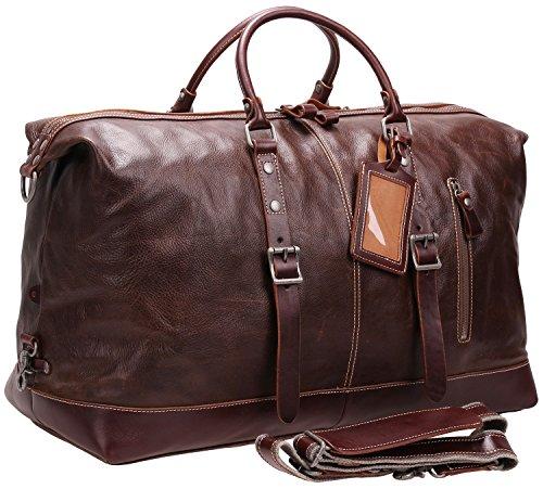 Iblue Genuine Leather Travel Duffel Weekend Bag Luggage Carry On Gym...