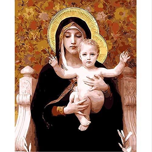 jasonding Decoración de la Pintura al óleo de la Madre imágenes de Dioses por números Fotos Digitales para Colorear a Mano Decoración del hogar Virgen María