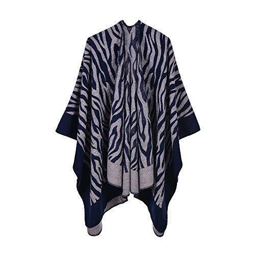 THTHT Sjaal mode mantel dames sjaal verdikking dier patroon geometrie zebrapatroon jacquard warm en lange herfst en winter Dual Use-Classic navy