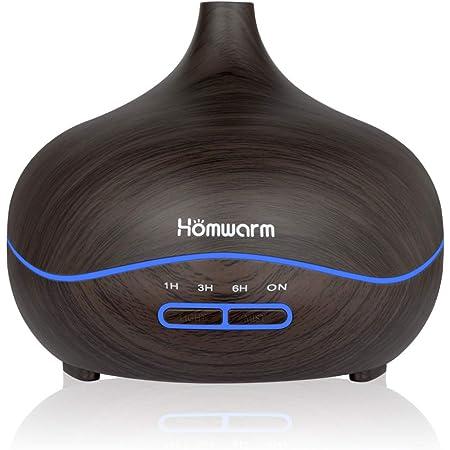 Homwarm アロマディフューザー 超音波式 大容量 400ML アロマ加湿器 卓上加湿器 木目調 【日本語取り扱い説明書付き】 (ブラウン)