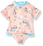 Wippette Girls Baby Printed One Piece Rashguards Swimsuits, Bright Coral, 18M