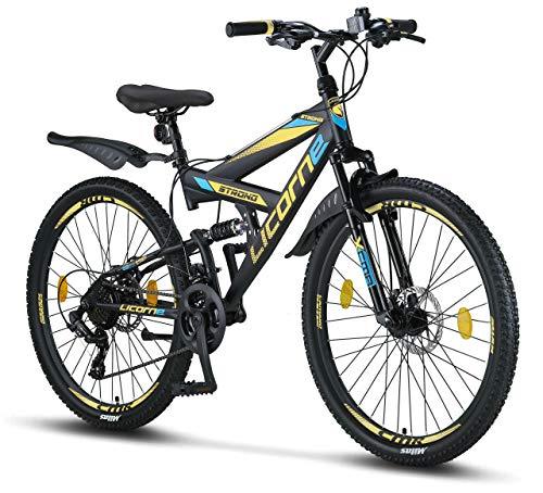 Licorne Bike Premium Mountainbike in 26 Zoll - Fahrrad für Jungen, Mädchen, Damen und Herren - Scheibenbremse vorne und hinten - Shimano 21 Gang-Schaltung - Strong Bike - Schwarz/Blau/Lime