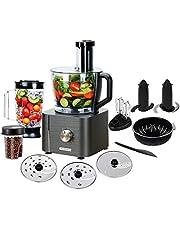 TopStrong Robot Cuisine Multifonction,1100W Robot Multifonction,11 en 1 Robot Culinaire inclus Hachoir, Crochet Pétrisseur,Mixeur, Presse-agrumes et Moulin à Café, 3,2L Bol et 1,5L Blender