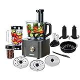 TopStrong Robot Culinaire,11 en 1 Robot Cuisine,Robot Multifonction,inclus Hachoir Multifonctions,Crochet Pétrisseur,Mixeur,Presse-agrumes et Moulin à Café,1100W 3,2 L Bol et 1,5 L Blender