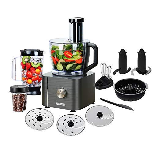 TopStrong Robot Cuisine Multifonction 1100W Robot Multifonction,11 en 1 Robot Culinaire inclus Hachoir, Crochet Pétrisseur,Mixeur, Presse-agrumes et Moulin à Café, 3,2L Bol et 1,5L Blender